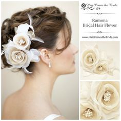 Wedding Bridal Hair Flowers by Hair Comes the Bride - Hair Comes the Bride Bridal Hair Accessories & Headpieces, Wedding Jewelry, Hair & Makeup Bridal Hair Updo, Bridal Hair Flowers, Bridal Hair Pins, Wedding Hair And Makeup, Silk Flowers, Wedding Updo, Flower Hair, Pretty Flowers, Wedding Headpieces