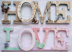 Home letras vintage 25 ideas Decoupage Letters, Diy Letters, Wood Letters, Letters And Numbers, Home Crafts, Diy And Crafts, Paper Crafts, Wood Letter Crafts, 3d Home
