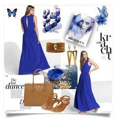 """Blue Dress"" by nashama ❤ liked on Polyvore featuring Naf Naf, Anja, Prada, Chan Luu, Liljebergs, dress, clothes and fashionset"