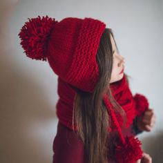 Knit EarFlap Pom Hat  Scarf Snood Winter Set. Red by NatalieKnit