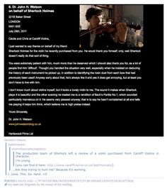 Sherlock production team left a review of a violin maker in character. It is on their website. >>> This is the most fabulous thing. <--- I'm gonna go cry