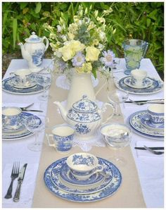 Beautiful table setting for a wedding afternoon tea. Crockery from Devon Vintage China