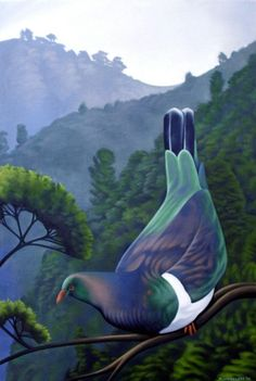 Why buy a New Zealand art print when you can buy a detailed original New Zealand painting and have it delivered anywhere around the world. Art Maori, Bird Artists, New Zealand Art, Nz Art, Kiwiana, Selling Art, Whimsical Art, Fantasy Creatures, Graphic Art