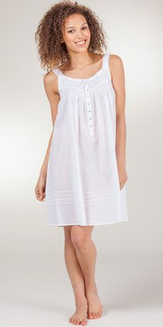 Eileen West Swiss Dot Cotton Sleeveless Waltz  Nightgown In Celestial