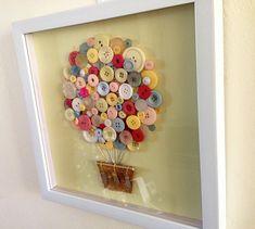 Button Art - Pastel 3D Art - Hot Air Balloon Nursery Artwork - Vintage Button Craft in Framed Shadow Box