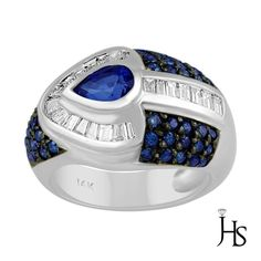 14K White Gold 2.00 CT Baguette Diamond & Round Treated Blue Diamond Ring…