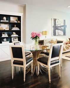 neat dining room table and chairs