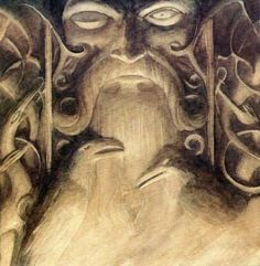 A sculpture depicting Hugin & Munin - Odin's Ravens