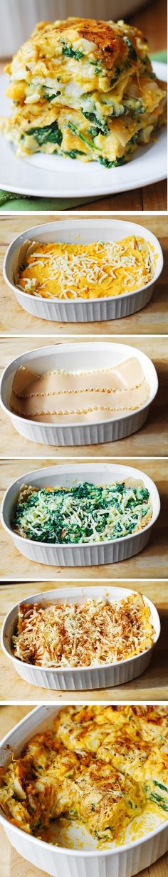 Butternut Squash and Spinach Three Cheese Lasagna: healthy, vegetarian pasta dinner (For gluten free version, use brown rice lasagna noodles)