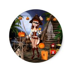 #Cute Halloween Pirate Girl Stickers - #Halloween happy halloween #festival #party #holiday