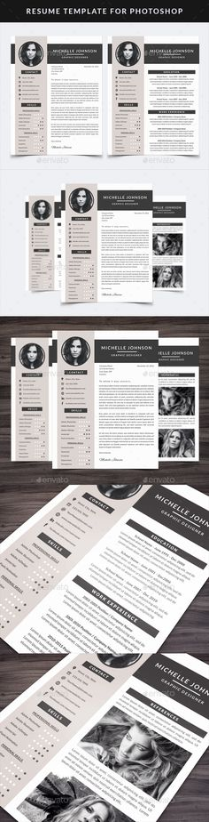 Resume Template for Photoshop by NM-Design-Studio This resume template is fully editable in Adobe Photoshop CS2  but you should also be able to edit it in Photoshop Elements. You c
