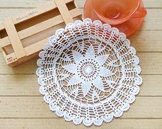 Small White/Cream Cotton Japanese Crochet Lace Doily - Amber