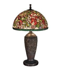 Victorian Romance Rose Stained Glass Table Lamp