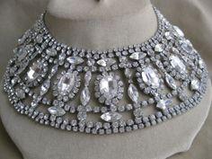MARIE-FERRA-Silvertone-Rhinestone-Wide-Collar-Necklace-Signed-Neiman-Marcus
