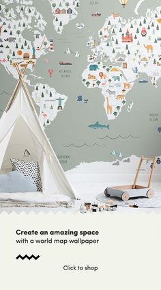Our classic world map murals are beautiful designs that take their own twist on old retro style textbook maps by combini Office Wallpaper, World Map Wallpaper, Bedroom Wallpaper, Wallpaper Ideas, World Map Mural, Kids World Map, Wall Design, House Design, Design Art