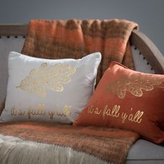 Casual and cheerful, the Thro by Marlo Lorenz Its Fall Yall Leaf Foil Printed Pillow – Oatmeal brings to mind warm sweaters and hot cider,. Fall Home Decor, Holiday Decor, Welcome Fall, Warm Sweaters, Christmas Love, Instagram Shop, Pillow Talk, Akita, Bed Pillows
