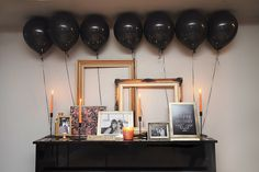 Adult birthday party; balloons, gold frames, pictures, candles and more! Ashley Lindzon Events