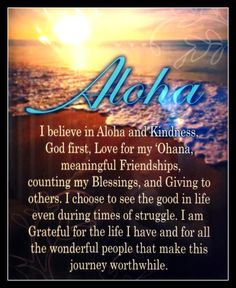 Aloha quote, Look for the Sunshine!