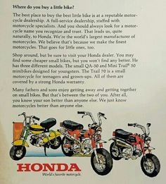 HONDA Minitrail Classic Honda Motorcycles, Vintage Motorcycles, Cars And Motorcycles, Where Do You Buy, Mini Bike, Vintage Bikes, Dirt Bikes, Go Kart, Toys For Boys
