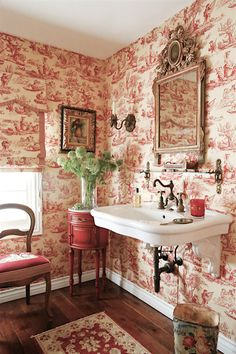 French Country dream bath with Herbeau Royale faucet toile wallpater & elegant  vintage furniture