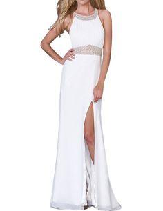 LovingDress Women's Prom Dresses Chiffon A Line Halter Sweep Train Open Back Size 2 US White