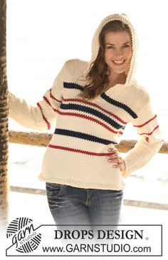 """DROPS 120-42 - Knitted DROPS Marine jumper with hood in """"Ice"""". Size S - XXXL. - Free pattern by DROPS Design"""