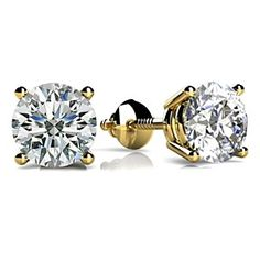 Round Cut Natural Diamond Solitaire Stud Earrings In 18k Yellow Gold (0.5 Carat ,H-I I1) by JewelryHub on Opensky