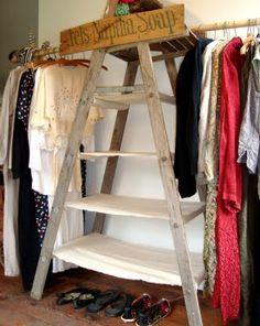 Old ladder wardrobe/shelves.