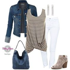 Love the knotted bottom (pre-order) Set Gray Striped Gathered Tank (incl. Fall Outfits, Casual Outfits, Cute Outfits, Jean Outfits, Summer Outfits, Look Fashion, Fashion Outfits, Womens Fashion, Fashion 2017