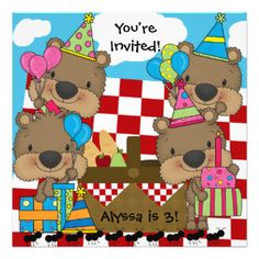 Customized Picnic with the Teddy Bears birthday invitations, so colorful and cute, great for kids of all ages! If you love bright colors and teddy bears you'll love our Picnic with the Teddy Bears invites. Great for picnic theme birthdays or teddy bear theme birthday parties! #birthday #picnic #teddy #bears #bears #kids #cute #parties #party #peacockcards #childrens #customized #custom #personalized #colorful