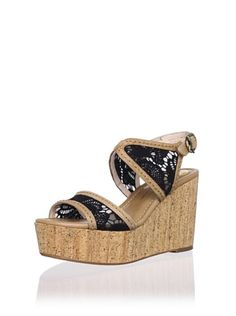 60% OFF House of Harlow 1960 Women's Gladys Wedge Sandal (Sand/Black)