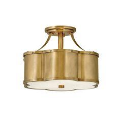 Hinkley Chance Quatrefoil Ceiling Light in Heritage Brass - LightsOnline.com Semi Flush Lighting, Foyer Lighting, Hinkley Lighting, Interior Lighting, Kitchen Lighting, Lighting Ideas, House Lighting, Ceiling Fan Makeover, Quatrefoil