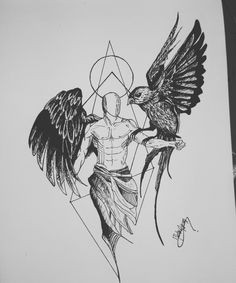 Bird and angel drawing