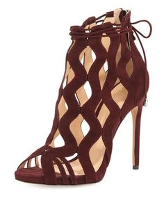 Loretta Wave-Caged Laced-Ankle Bootie by Alexandre Birman