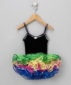 Look what I found on #zulily! Black & Green Ruffle Dress - Girls #zulilyfinds