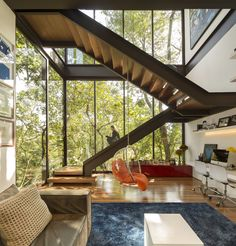 This Stunning Brazilian Residence Takes Cues From Mies van der Rohe - Dwell #office #brazil #staircase