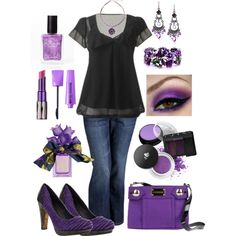 Plus Size Purple & Black, created by elise1114 on Polyvore