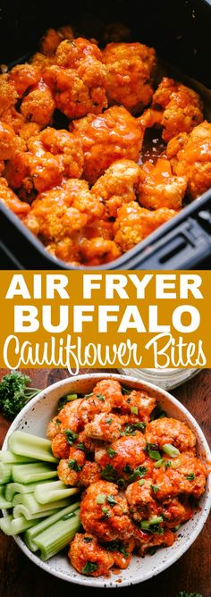 AIR FRYER BUFFALO CAULIFLOWER BITES! Cauliflower stands as a delicious vegetarian alternative to chicken wings in this recipe for spicy Air Fryer Buffalo Cauliflower Bites. Prepared with an almond flour breading and a buttery hot sauce, these cauliflower bites are low carb, Keto-friendly, and SO delicious!!