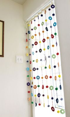 fun crochet window treatment
