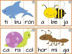 Estupendas tarjetas de animales divididas por sílabas para preescolar, primer y segundo grado de primaria   Educación Primaria