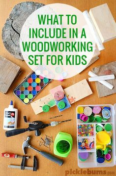 Woodworking with Kids What to include in a wood working set for kids put together your own set and add some of these unusual items for lots of construction and creativity The post Woodworking with Kids appeared first on Woodworking Diy. Woodworking Kit For Kids, Fine Woodworking, Woodworking Crafts, Woodworking Classes, Youtube Woodworking, Woodworking Basics, Woodworking Patterns, Woodworking Machinery, Woodworking Furniture