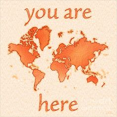 World Map Airy Square with 'You Are Here' text In Orange And White by elevencorners. World map art wall print decor. #elevencorners #mapairy