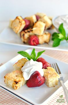 Strawberry shortcake kabobs  yum! Coconut cream completes this sweet twist on kabobs. | Simply Organic