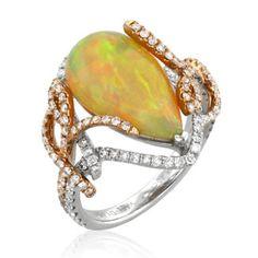 YAEL Designs 5.45 ct. Ethiopian Opal & Diamond Ring / 18k two tone gold