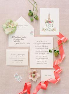 Gorgeously styled invitations: http://www.stylemepretty.com/2015/03/13/elegant-charleston-spring-wedding-at-hibernian-hall/   Photography: Corbin Gurkin - http://corbingurkin.com/