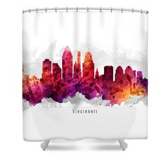 Cincinnati Ohio Cityscape 14 Shower Curtain by Aged Pixel