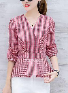 Blouses - $20.16 - Check Elegant Cotton Polyester V-Neckline Long Sleeve Blouses (1645221947)