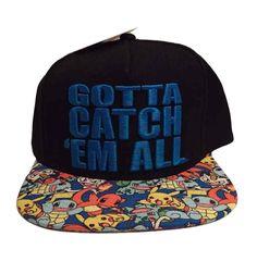 Pokemon Gotta Catch Em All Logo Characters Print Flat Brim Snapback  Baseball Cap 35aadcad8ca3