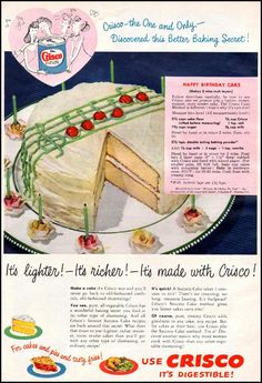 crisco vegetable shortening | woman's day | 1949 - lovethe decoration on this cake!