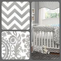 Another gray and white baby bedding set from Liz and Roo! The popular chevron looks great with this suzani, creating a beautiful crib bedding set for your baby! Get yours now at www.lizandroo.com